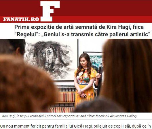 Kira Hagi si Galeria Alexandra in ziarul Fanatik